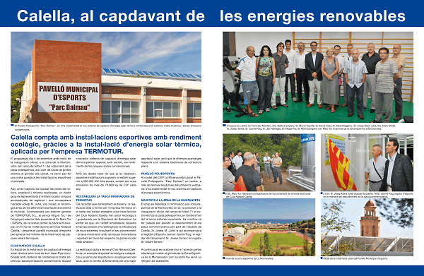 Calella, al capdavant de les energies renovables